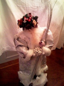White and Silver Santa With Dove by Patricia Landry