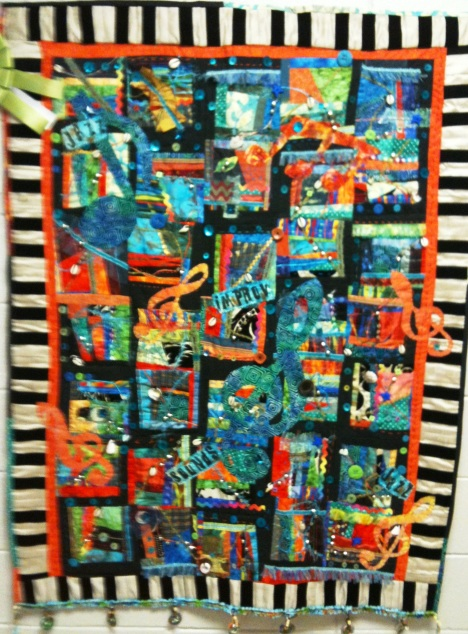 A Crescendo of Cloth, 43 x 56 inches, by Latifah Shakir, 2011. Winner of Best Art Quilt, 2011 Atlanta Quilt Festival.