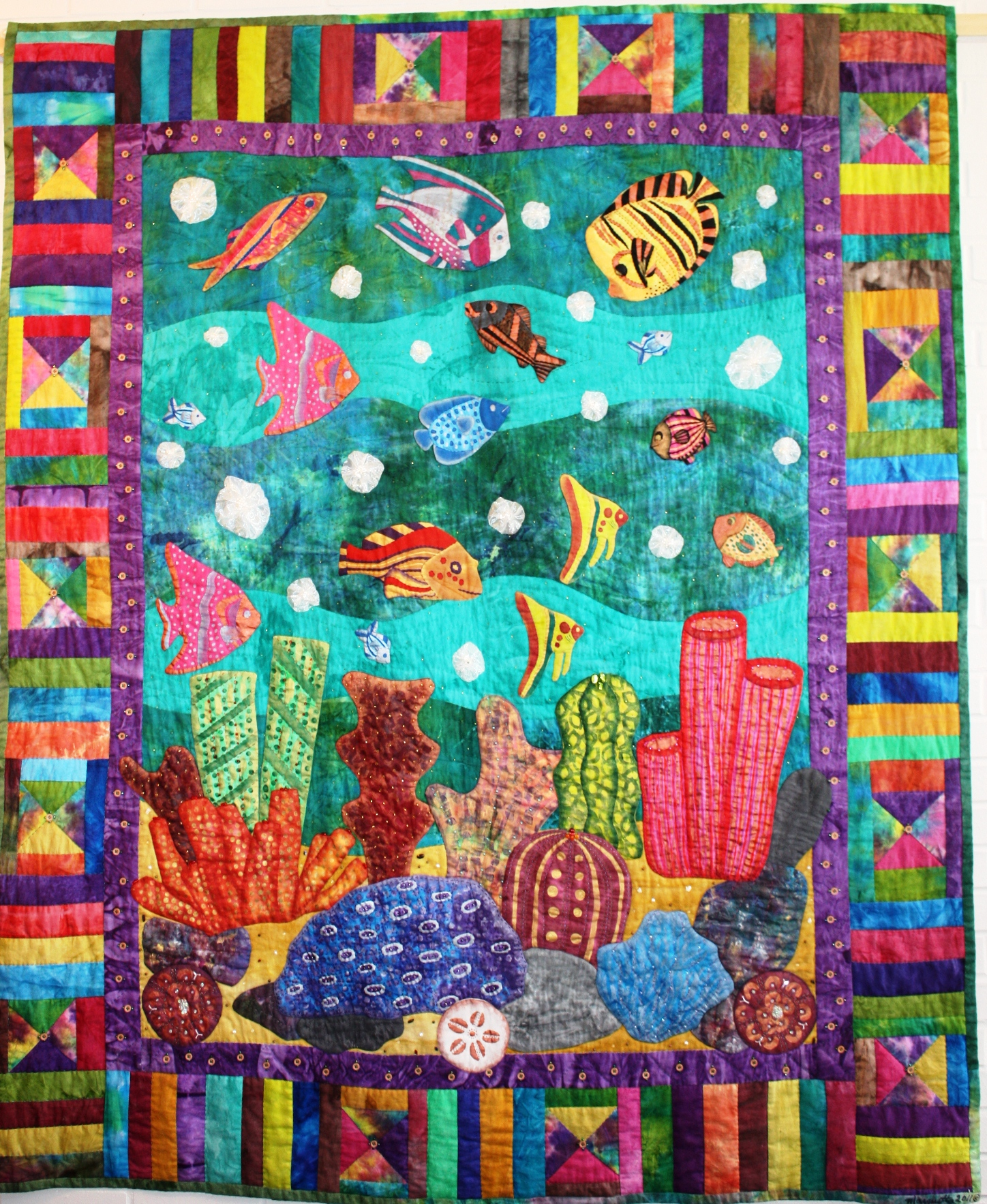 last day to see this quilt in person ocean gardenmarquetta - Ocean Garden