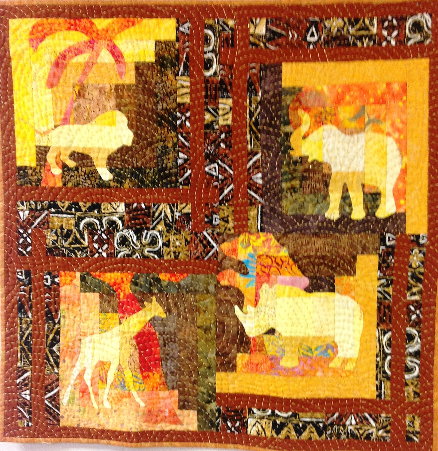 Marvelous photograph of Out of Africa was First Runner Up in the Traditional Quilt Category  with #C59306 color and 1864x1920 pixels